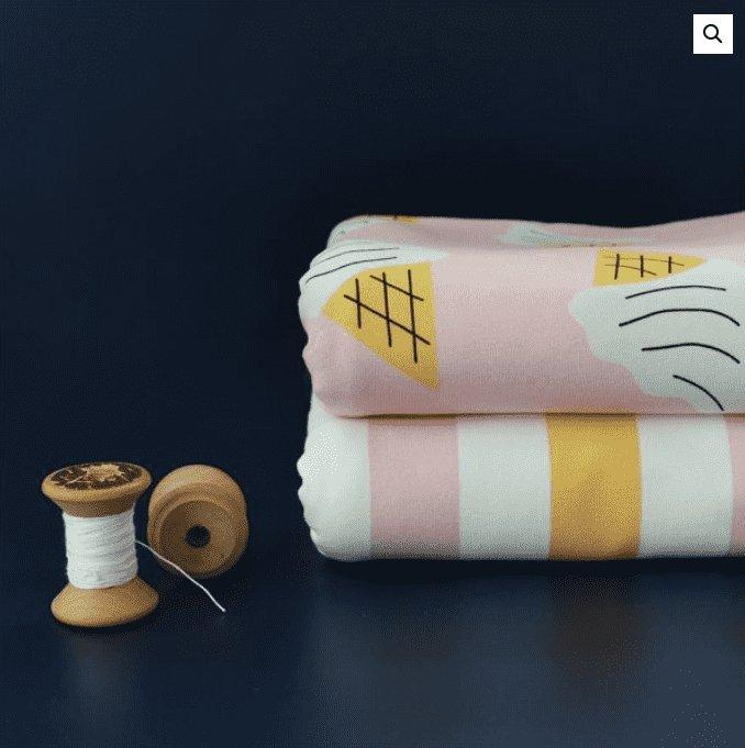 Stripes Soft Pink & Yellow - økologisk jersey Joseli Design