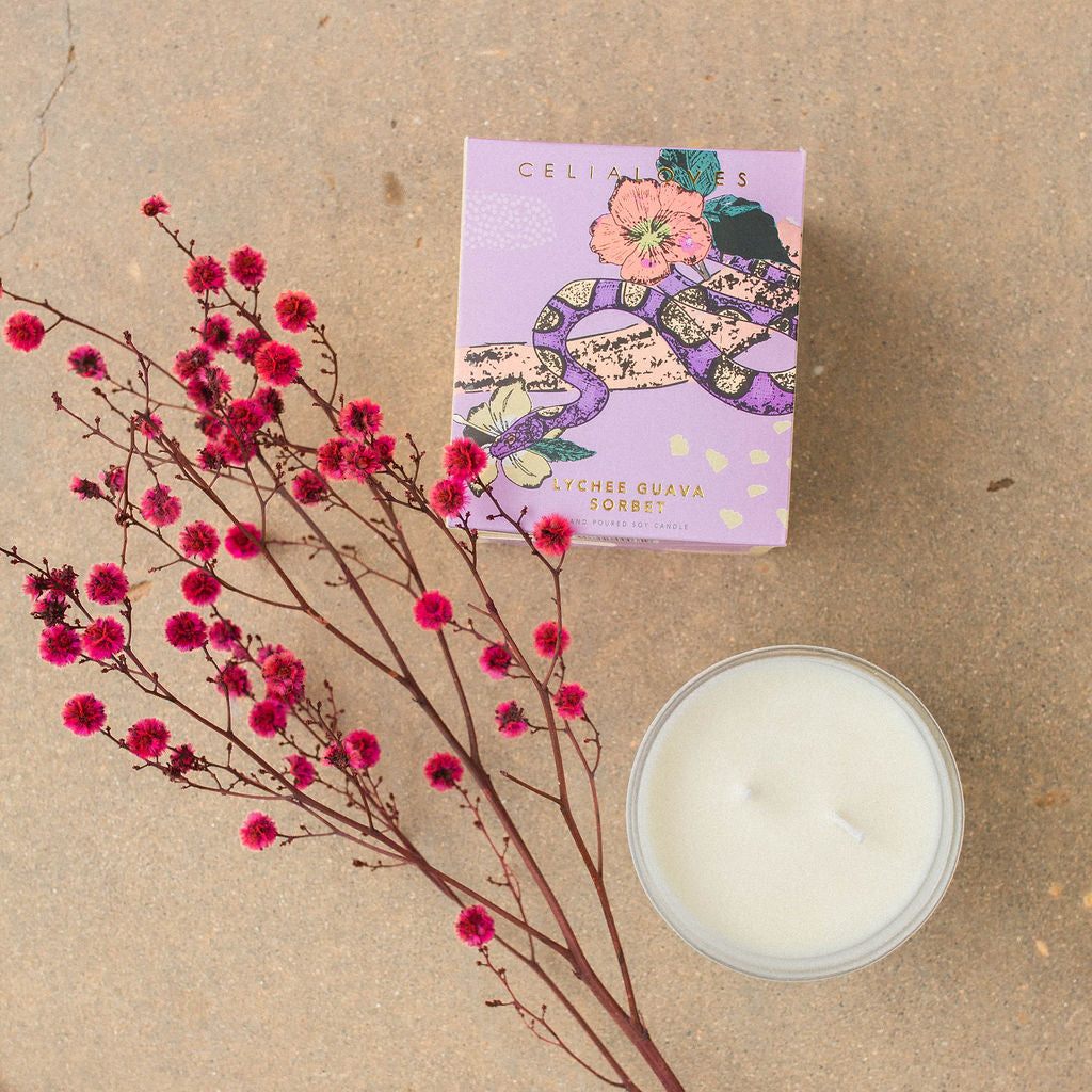 Celia Loves Lychee Guava Sorbet Candle with Dried Flowers