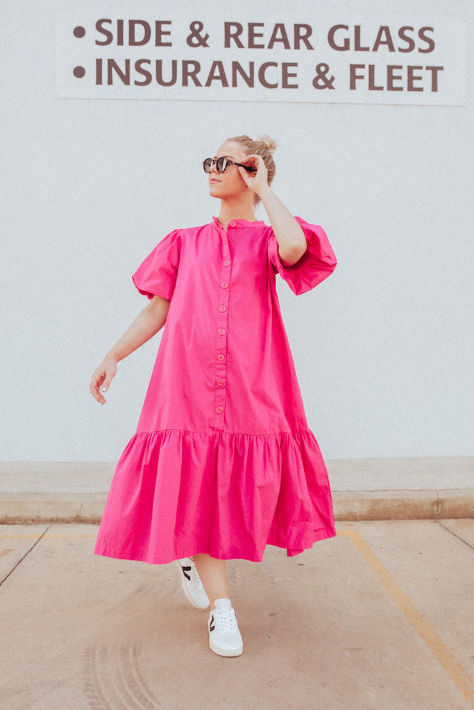 Abby Front Full Length view wearing Walden Puff Sleeve Dress by Nice Martin in Fuschia Pink with Veja sneakers
