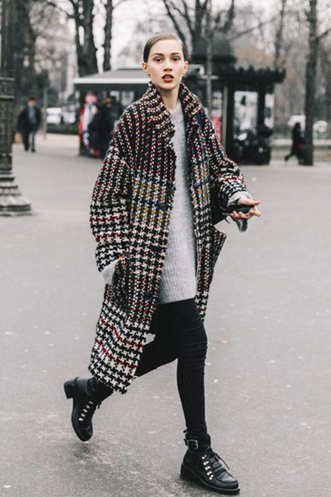 Street Style Photo Woman in Long check Trench and Black hiking Boots
