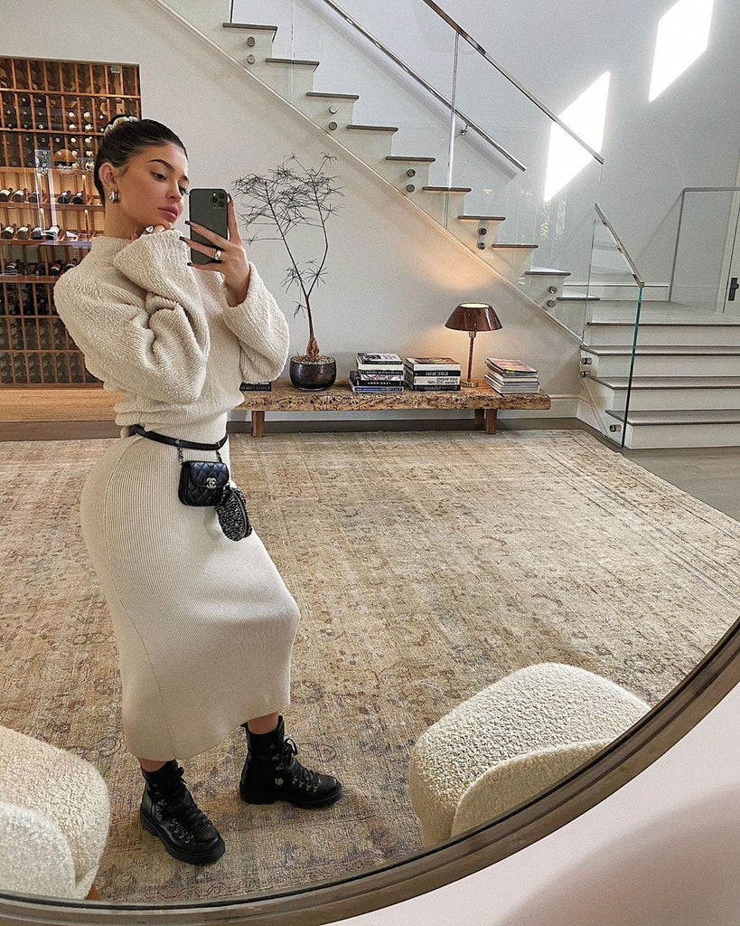 Kylie Jenner in White Dress and black hiking boots