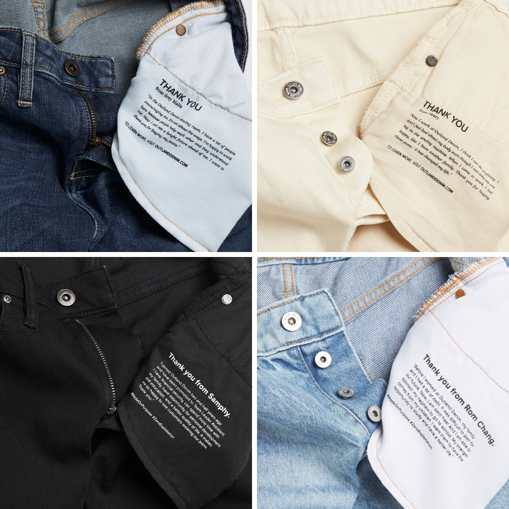 Pocket Lining Messages in Outland Denim's jeans