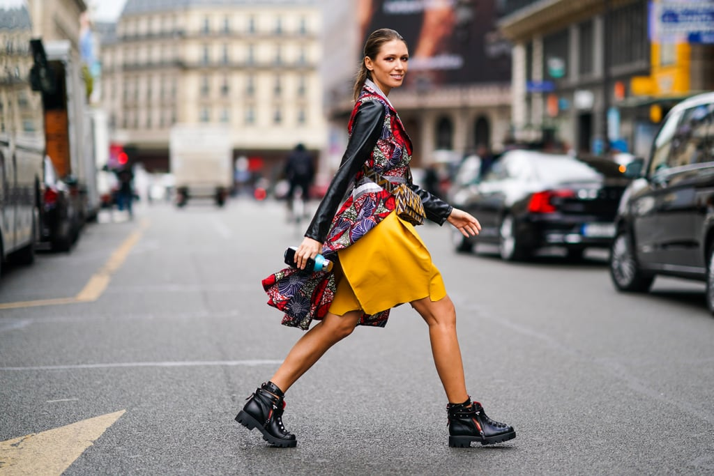 Street Style Woman in Hiking Boots and yellow skirt