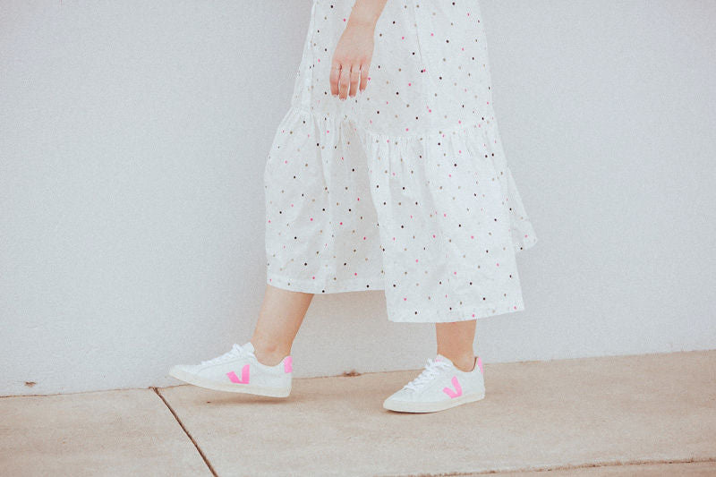 Up close of Veja Campo Sneakers in white and pink