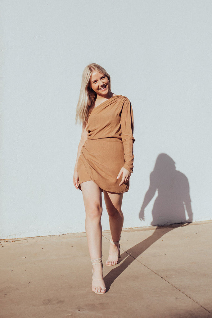 Abby wearing Rue Stiic Brown One Shoulder Dress Full length front view