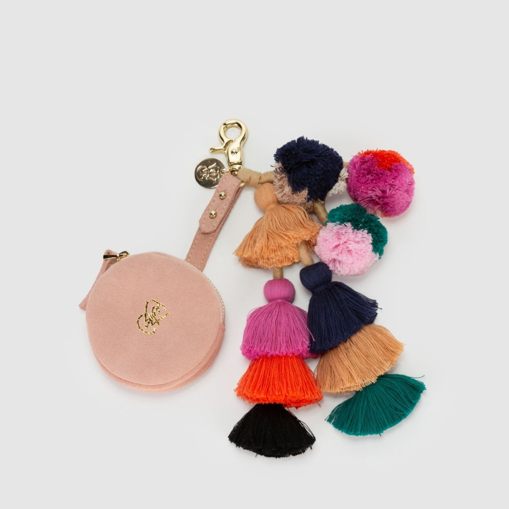 Sahara Keychain Coin Purse in Nude Suede with multicoloured tassel