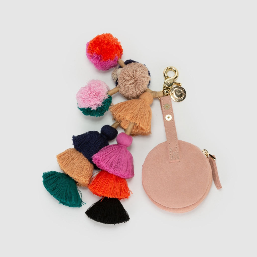Back view of Sahara Keychain Coin Purse in Nude Pink Suede with Multicoloured tassel