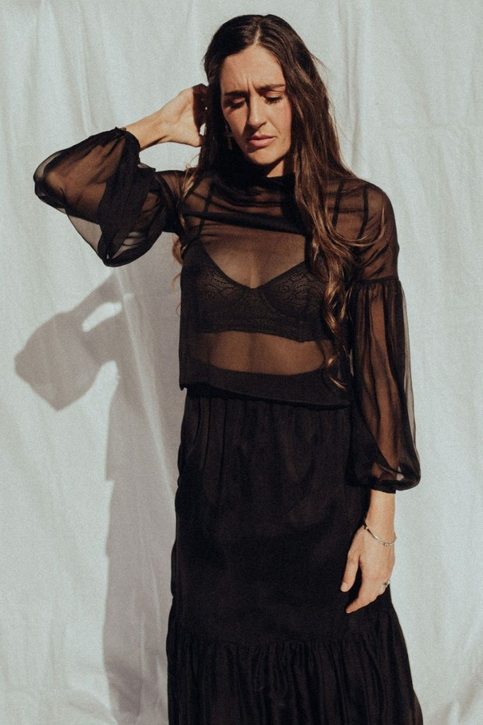 Silk Chiffon High Neck Blouse in Black