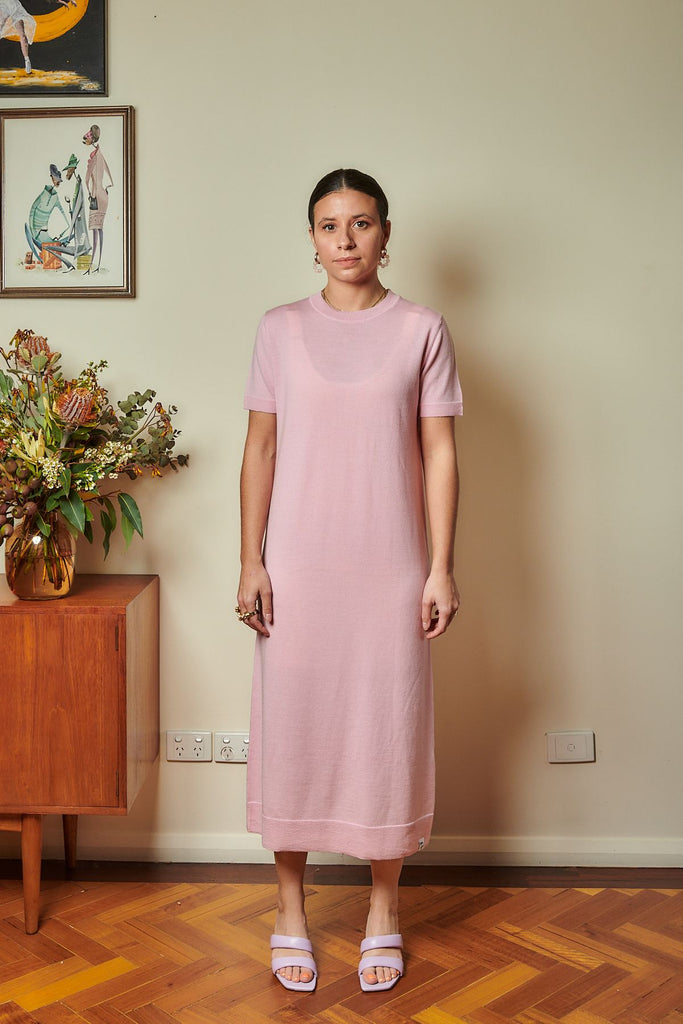 Hannah Merino Lite Dress in Pink