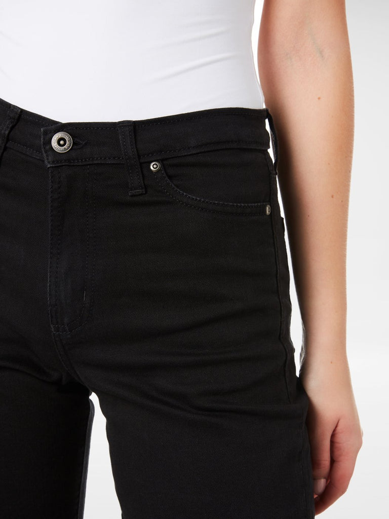 Close up of the front top of the Outland Denim Black Crop Jean
