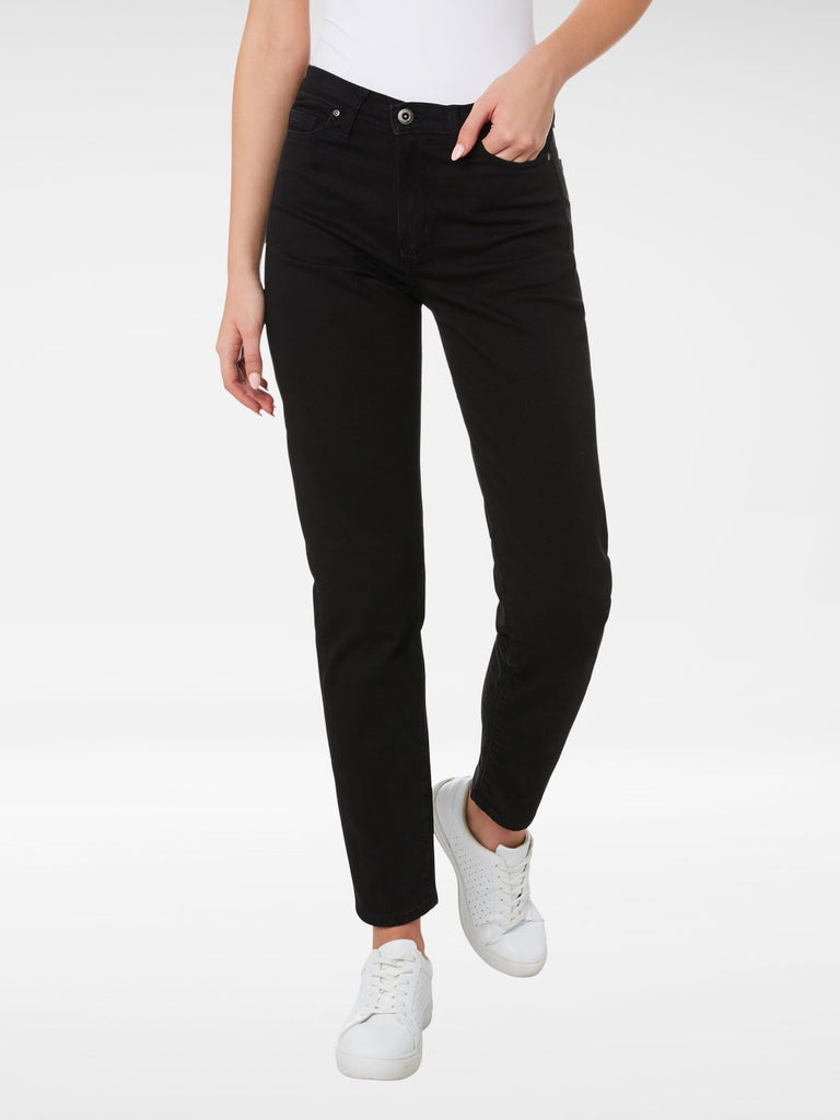 Front view of the Outland Denim Abigail Crop Jean in Black