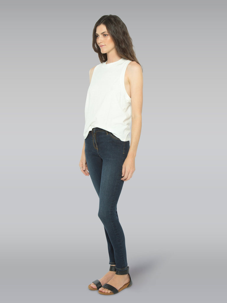 side front view of model wearing the Outland Denim Isabel Jean in Black