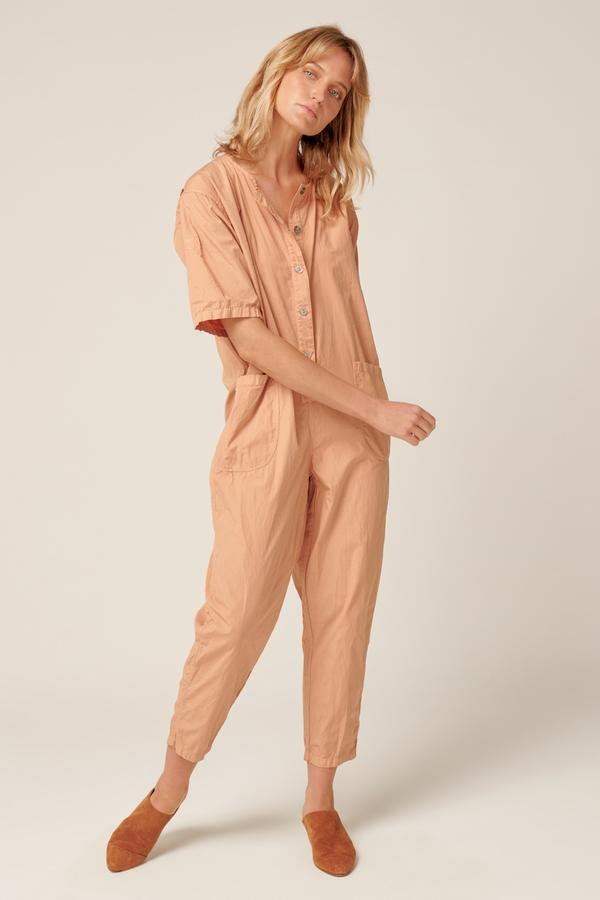 Front view of the Primness Goppi Jumpsuit in Peached