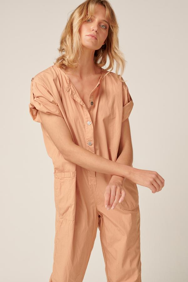 Close up of the Primness Goppi Jumpsuit in Peached
