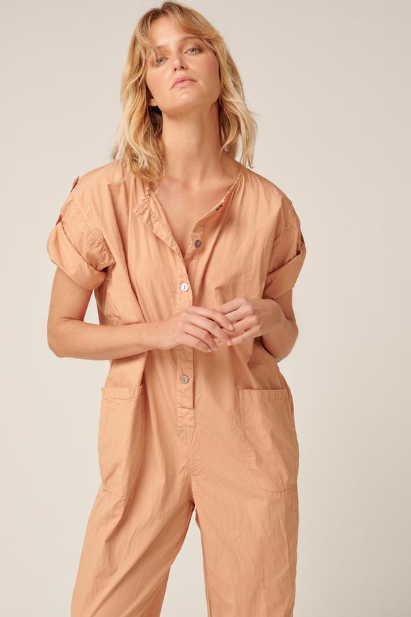 Close up of the front of the Primness Goppi Jumpsuit in Peached