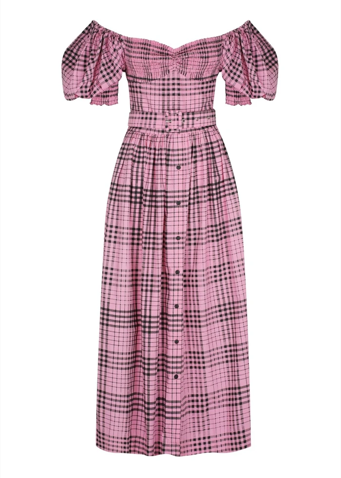 Full length front view of  SWF Puff sleeve dress in kinetic pink black & pink check dress