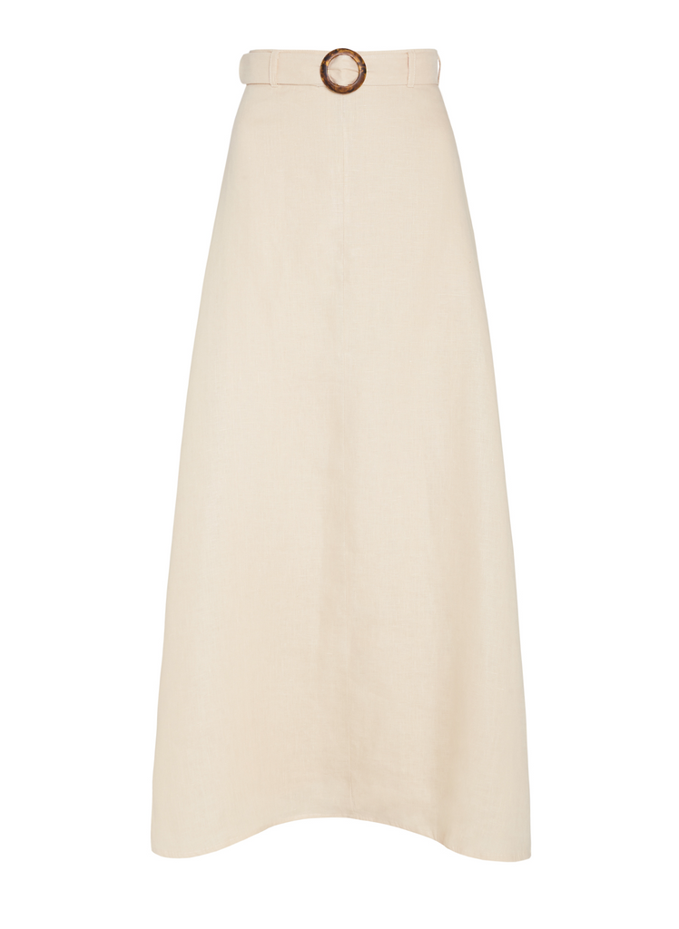 Ghost model image of Devon Midi Skirt in Cream with belt
