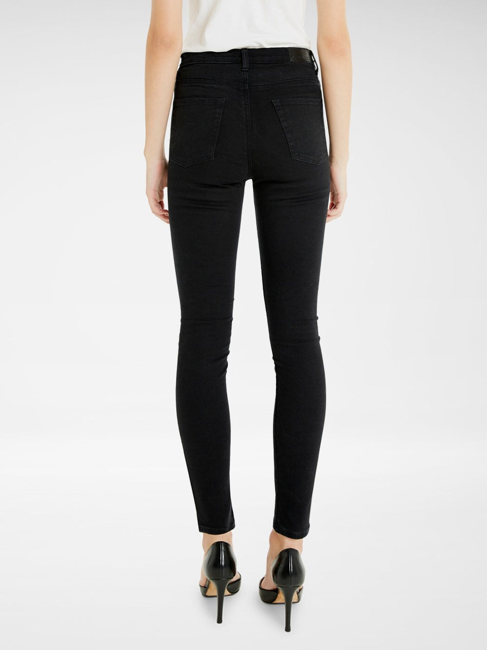 Back view of the Outland Denim Harriet Jean in Black Ankle Length