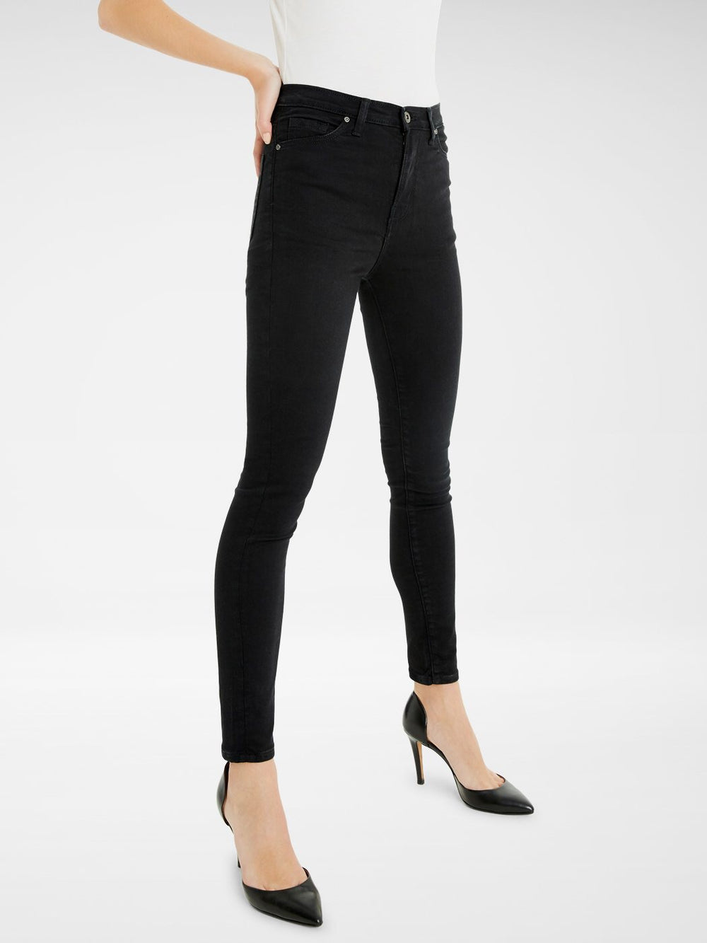 Side front view of the Outland Denim Harriet Jean in Black Ankle Length