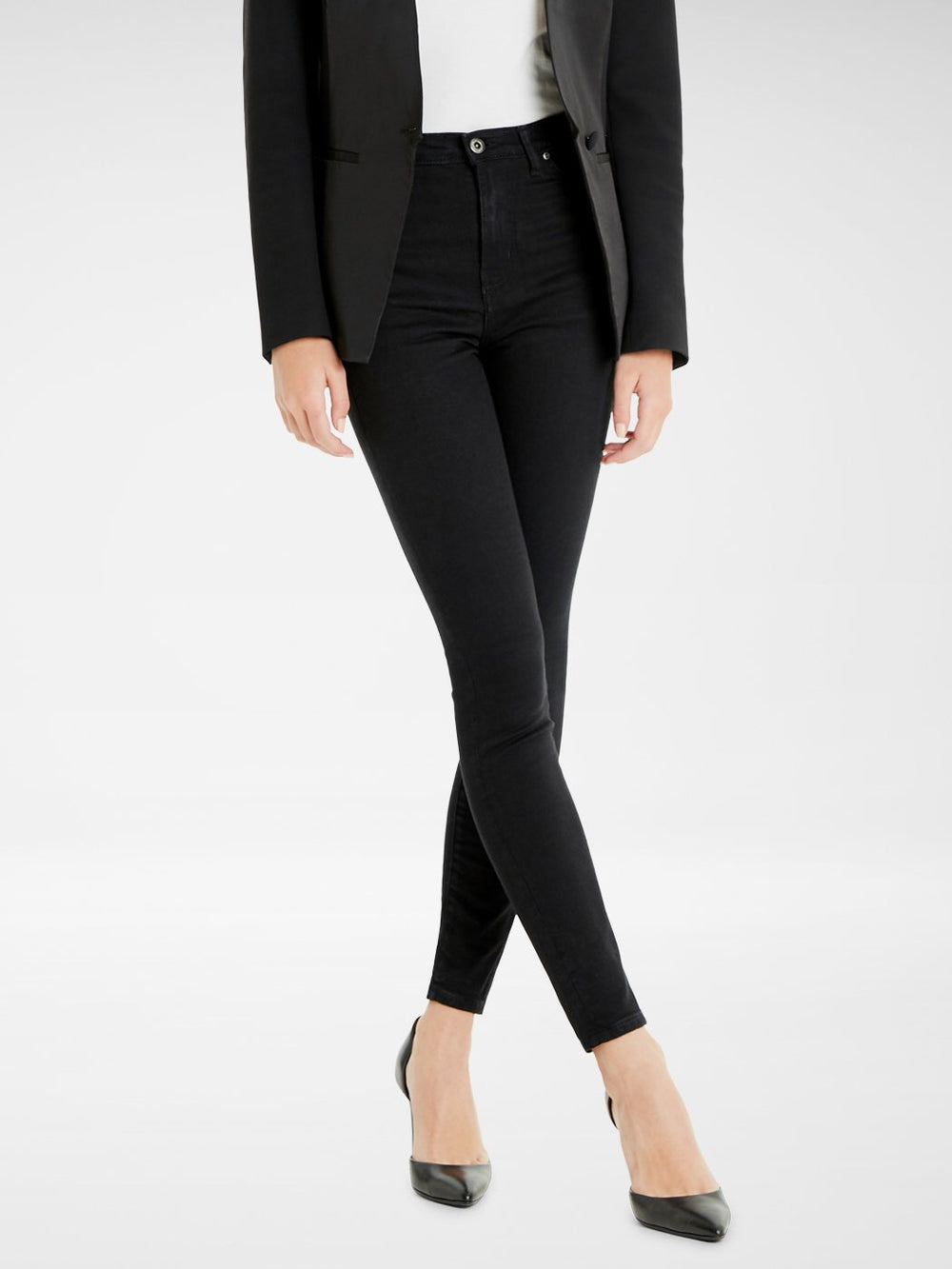 Front view of the Outland Denim Harriet Jean in Black Ankle Length
