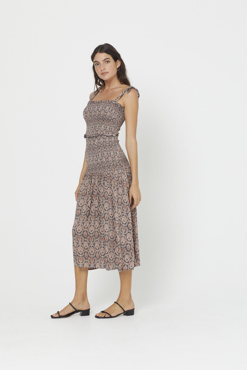 The Auguste Montague Bennett Shirred Midi Dress in Ink