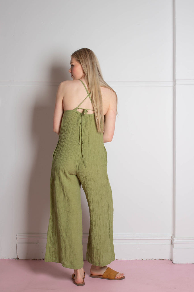 back view of the Zoe.O - Linen Wide Leg Overalls