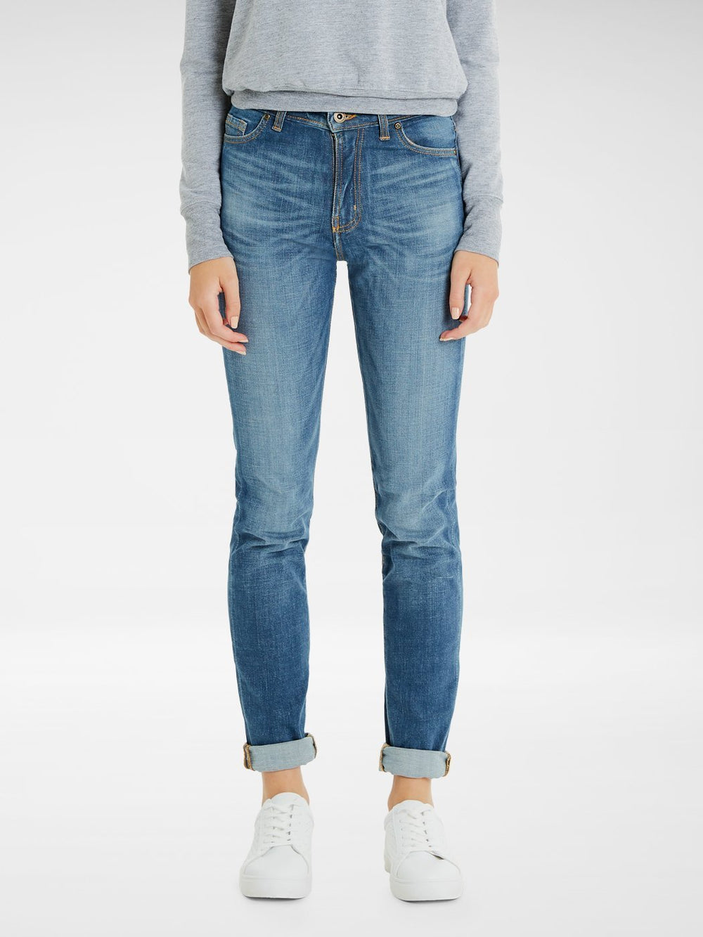 Front view of the Outland Denim Lucy Jean in True Blue