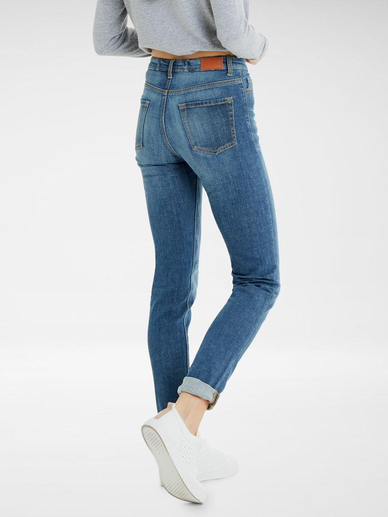 Back view of the Outland Denim Lucy Jean in True Blue