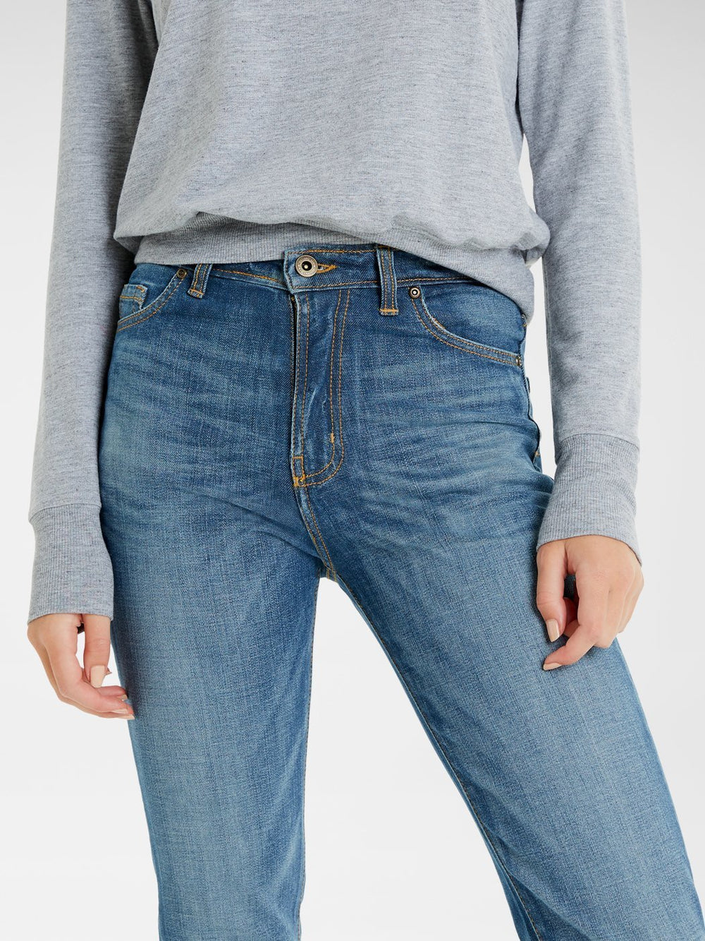 Close up of the front of the Outland Denim Lucy Jean in True Blue