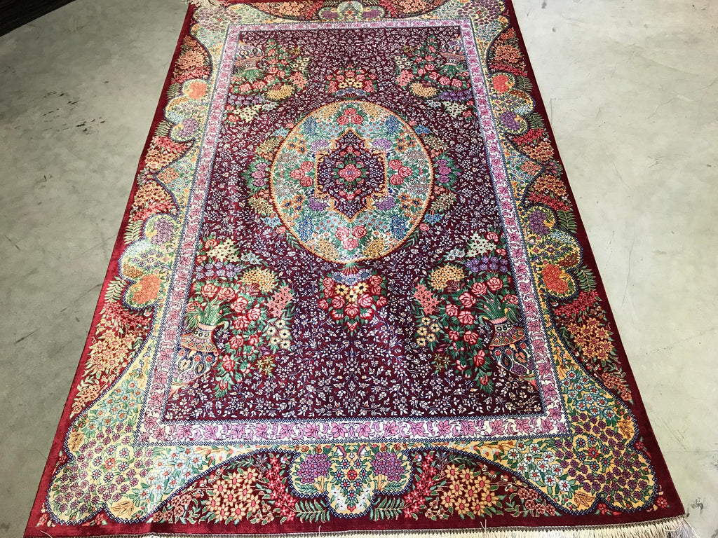 Pure Silk Qom Persian Rug