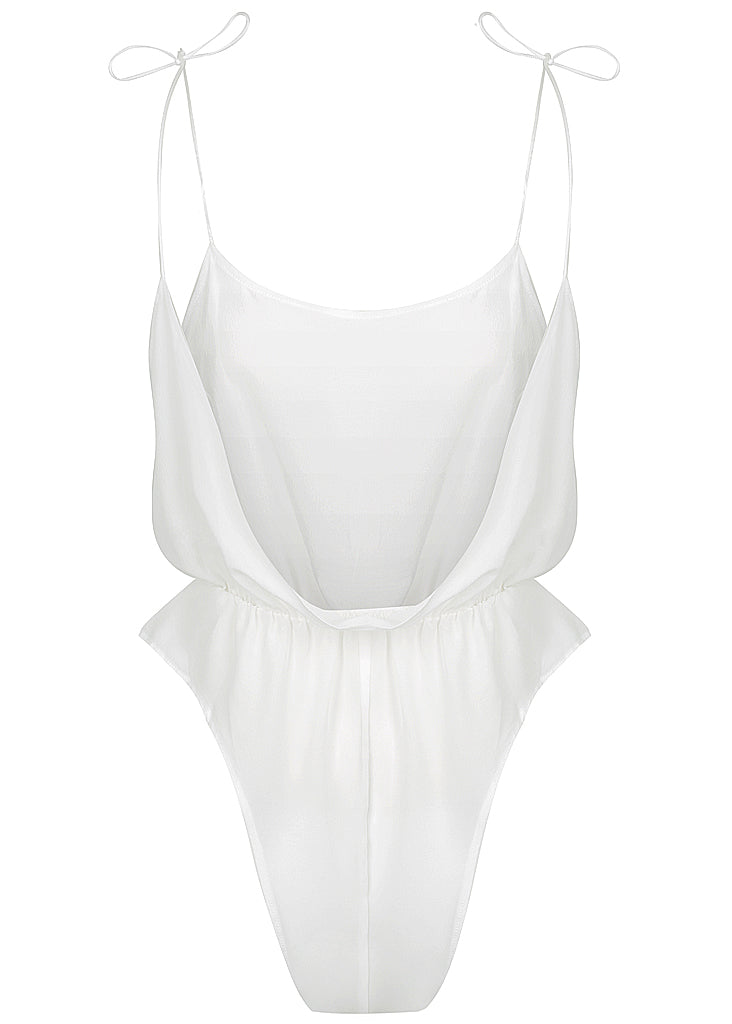 August Silk Romper White - Forever and a day intimates