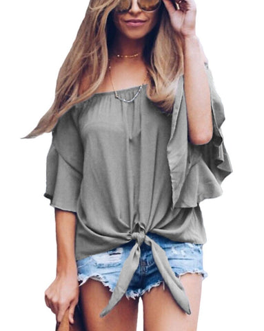 Image of Gray Off The Shoulder Knot Front Top