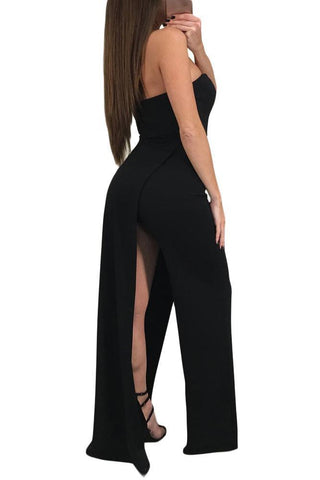 Asymmetric Split Leg Strapless Jumpsuit 64377
