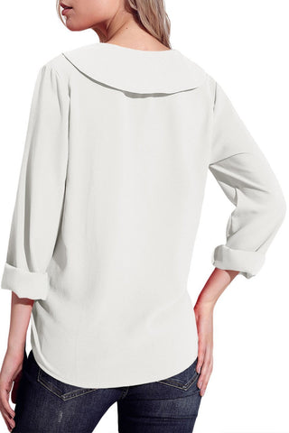 Lapel V Neck Roll Sleeve Blouse
