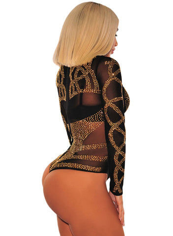 Rhinestone Faux Bustier Mesh Long Sleeves Bodysuit(LC32210-2-2)