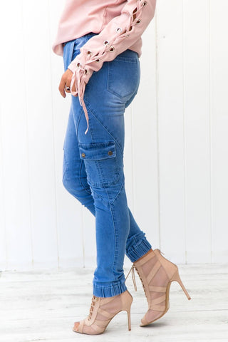 Drawstring Ankle Pocket Denim Jeans