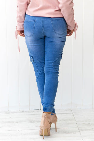 Image of Drawstring Ankle Pocket Denim Jeans