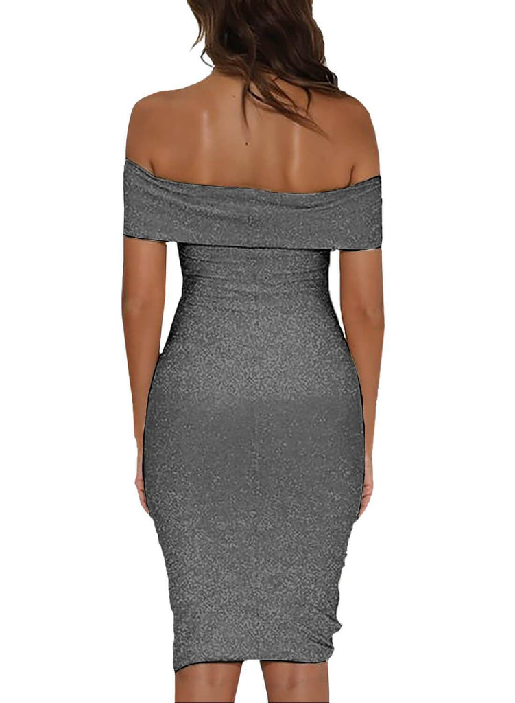Shiny Sexy Off Shoulder Bodycon Dress
