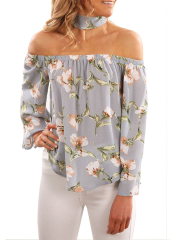 Image of Floral Print Off Shoulder Blouse