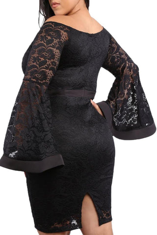 Plus Size Long Bell Sleeve Lace Dress