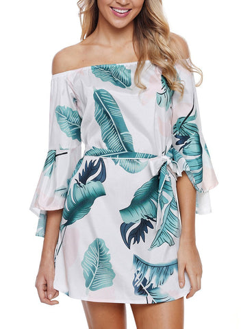 Image of Tropical Leaf Print Navy Off Shoulder Dress