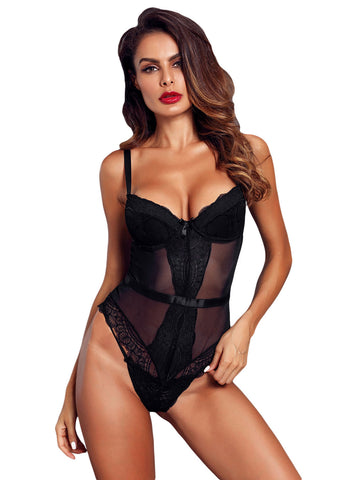 Image of Sheer Lace Spaghetti Strap Bodysuit(LC32259-1-1)
