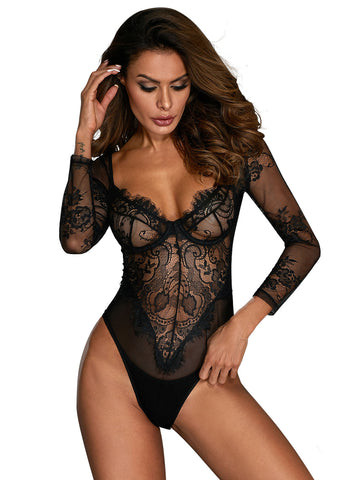 Long Sleeve Underwire Lace Bodysuit(LC32299-2-2)