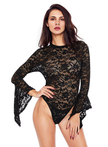 Sheer Floral Lace Long Bell Sleeve Bodysuit(LC32158-2-1)