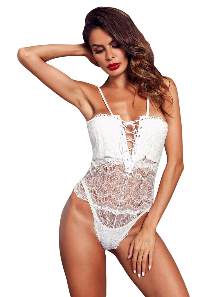Lace-up Front Lace Bodysuit(LC32246-1-2)