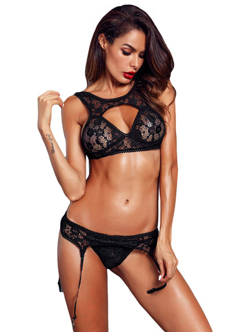 Image of Seductive Lace Bralette Garter Set(LC43011-2-1)