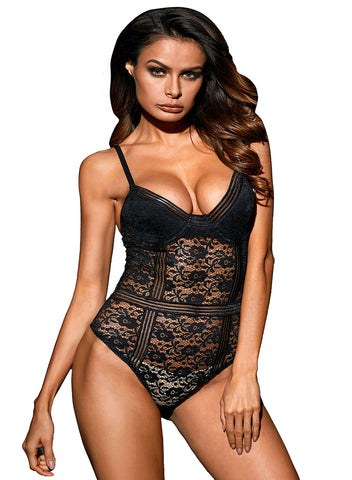 Image of Floral Lace Bustier Bodysuit(LC32169-2-1)
