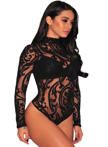 Sheer Mesh Print Long Sleeves Bodysuit(LC32110-2-1)