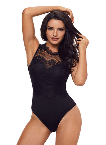 Lace High Neck Cut Out Back Bodysuit(LC32050-2-1)
