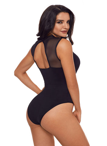 Lace High Neck Cut Out Back Bodysuit(LC32050-2-2)